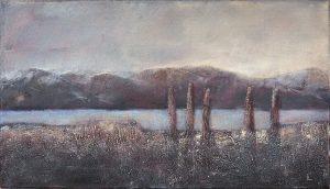 Crépuscule sur le Léman, acrylique 40x70